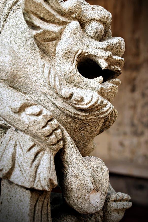 石狮,一个繁体中文监护人狮子雕象 库存图片