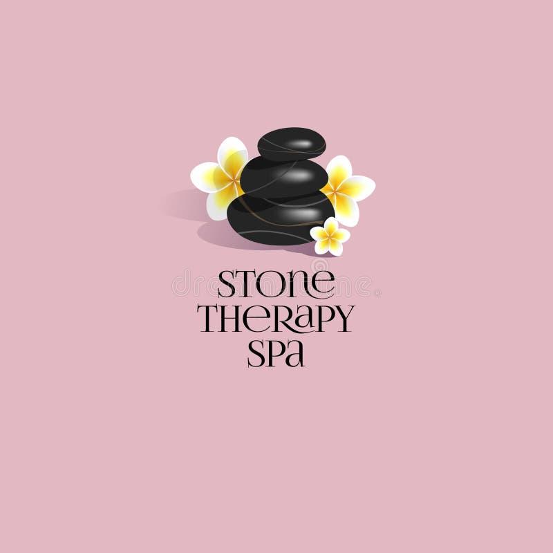 石疗法温泉商标 温泉做法的三块黑光滑的石头与热带花 库存例证