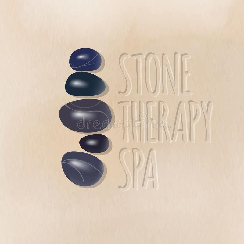 石疗法温泉商标 温泉做法的温泉黑暗的光滑的石头在沙子 皇族释放例证