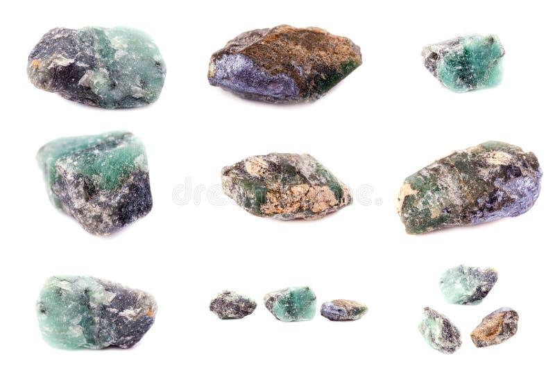 石矿物绿宝石的汇集 库存照片