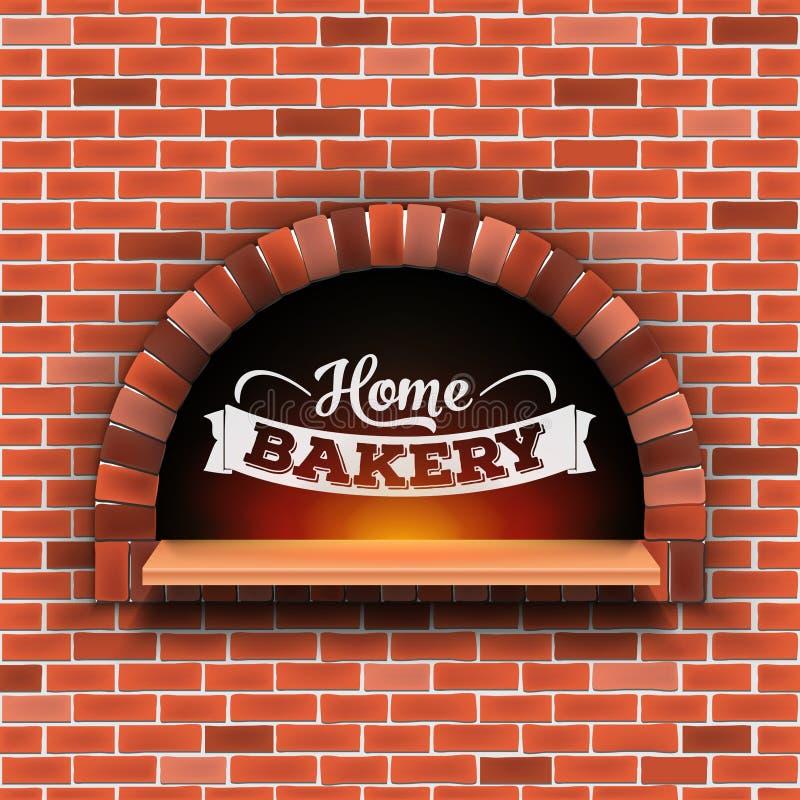 石砖,薄饼与在透明背景隔绝的火的木柴烤箱的创造性的传染媒介例证 艺术 皇族释放例证