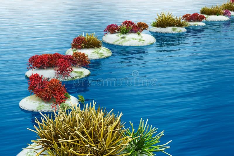 石路径在水中 库存例证