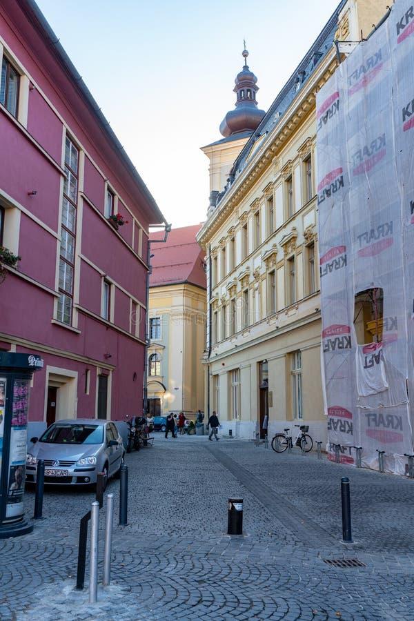 石路面样式在老罗马尼亚锡比乌 图库摄影