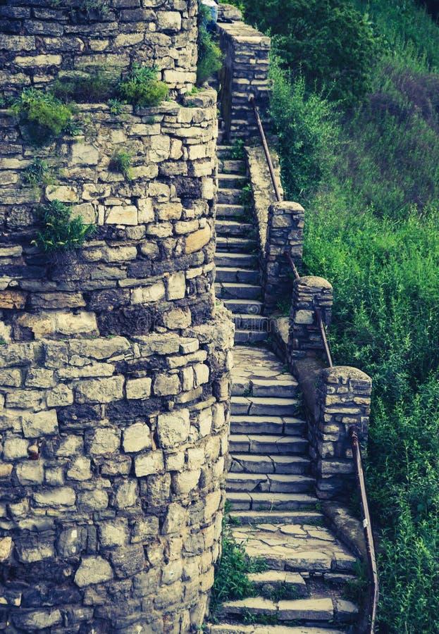 石阶和墙 免版税库存照片