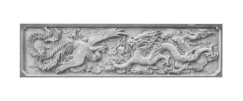 石雕刻的中国被隔绝的天鹅和龙 免版税库存照片