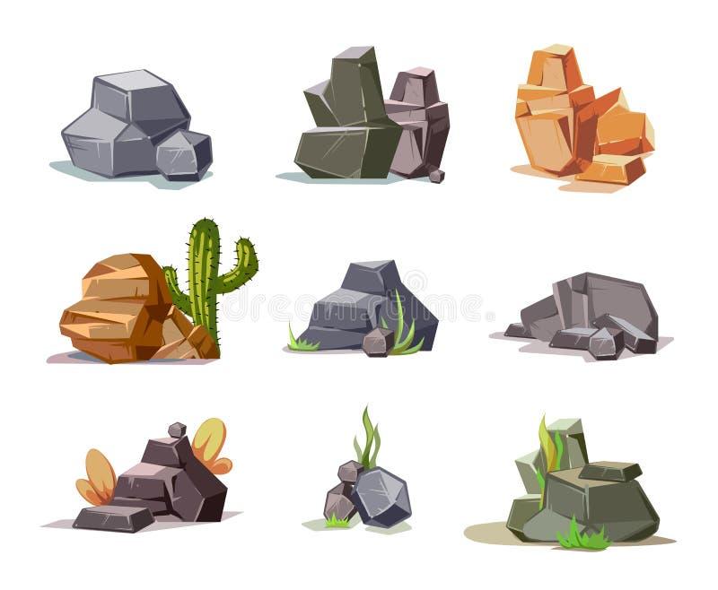 石头和自然岩石集合与在白色隔绝的动画片绿草 皇族释放例证