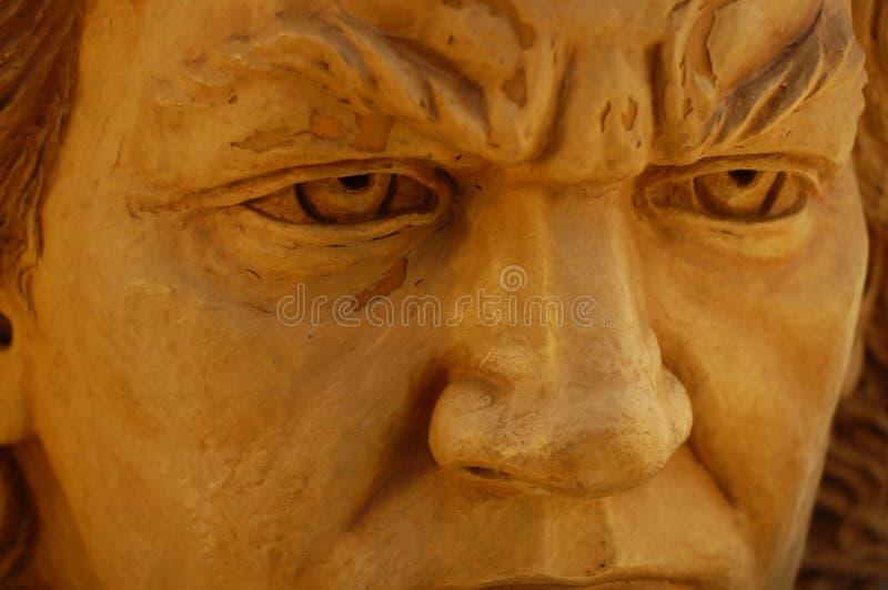 石贝多芬雕象强烈的眼睛雕塑 库存图片