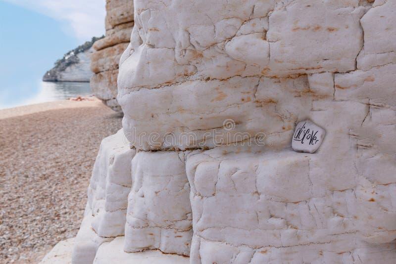 石头特写镜头视图与标志的在海滩 免版税图库摄影