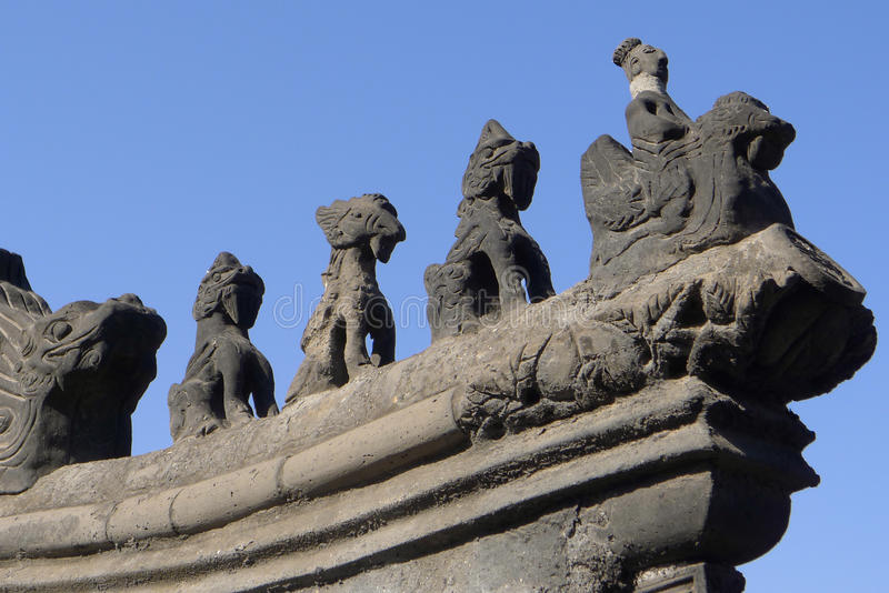 石头雕刻中国屋顶 图库摄影