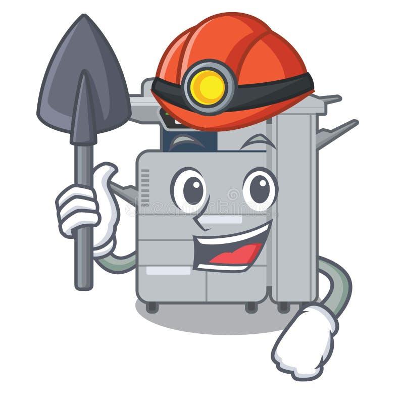 矿工在吉祥人木桌上的影印机机器 库存例证