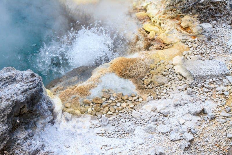 矿床围拢的煮沸的温泉 图库摄影