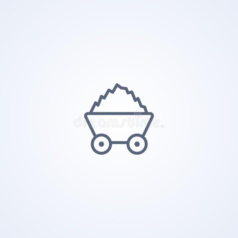 矿推车,传染媒介最佳的灰色线象 库存例证