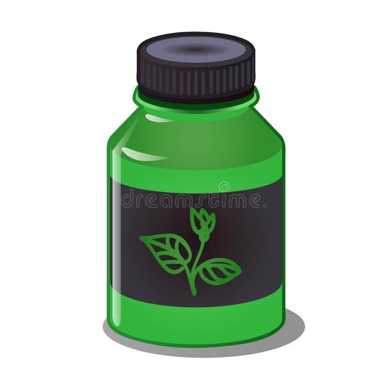 矿物和有机肥料集中在白色背景隔绝的一个绿色塑料瓶的 动画片传染媒介 皇族释放例证