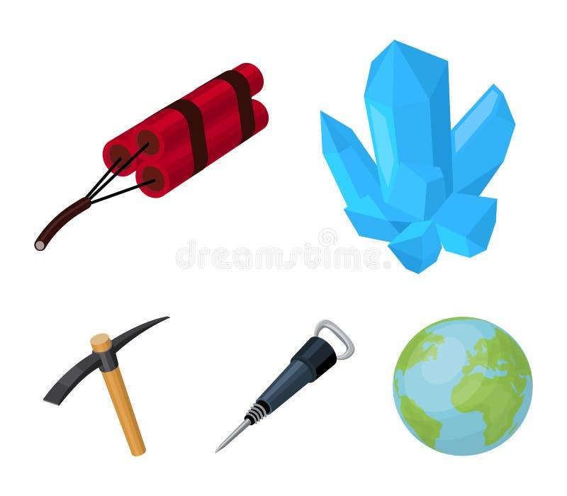 矿物,炸药,手提凿岩机,镐 在动画片样式的采矿业集合汇集象导航标志股票 向量例证