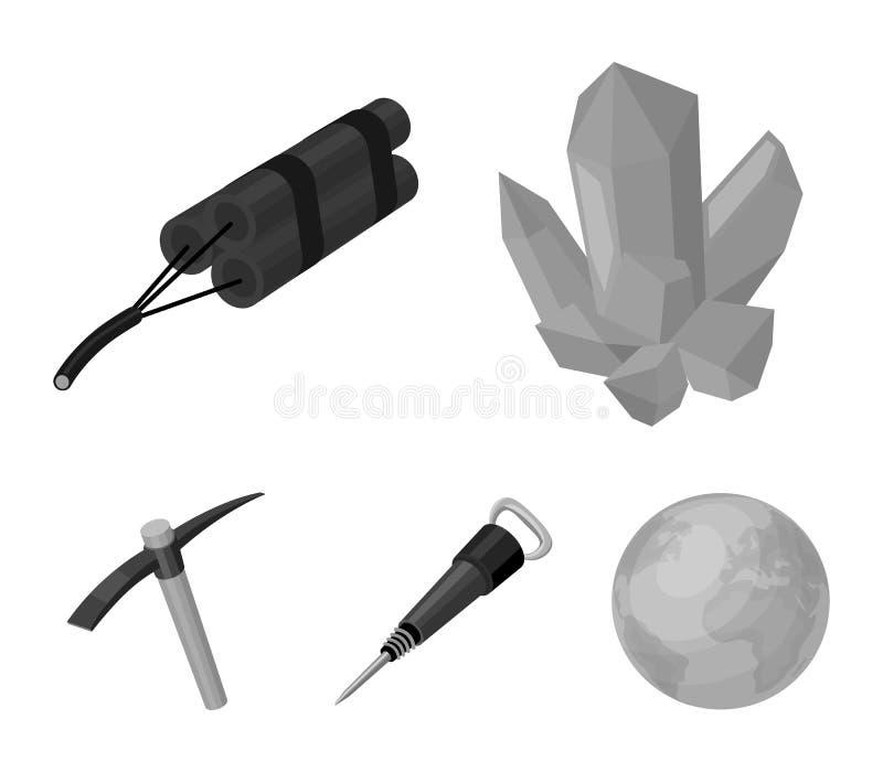 矿物,炸药,手提凿岩机,镐 在单色样式的采矿业集合汇集象导航标志股票 皇族释放例证