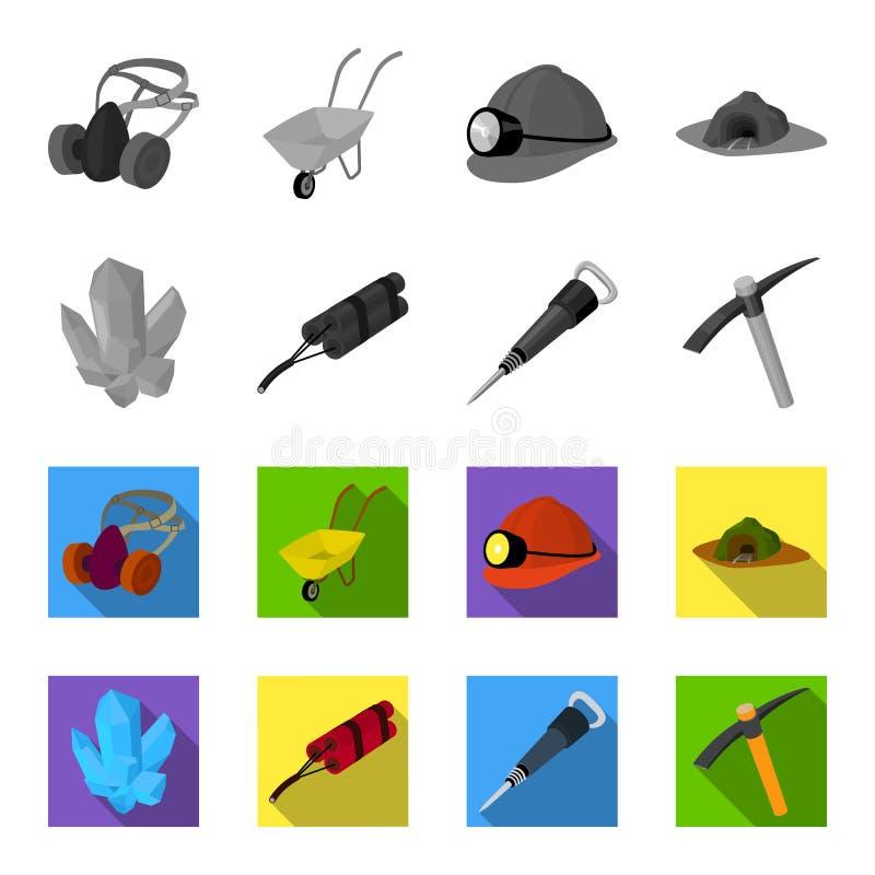 矿物,炸药,手提凿岩机,镐 在单色,平的样式传染媒介标志的采矿业集合汇集象 向量例证