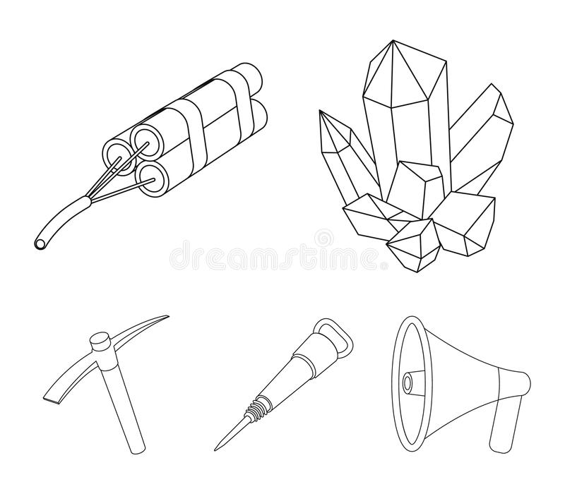 矿物,炸药,手提凿岩机,镐 在概述样式的采矿业集合汇集象导航标志股票 向量例证