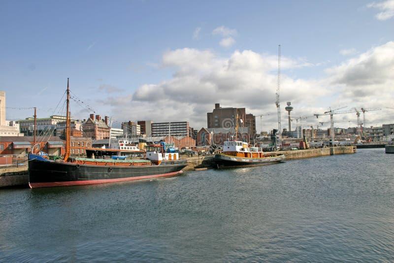 码头利物浦船 库存照片