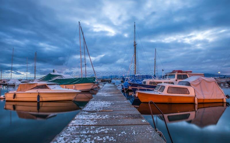 码头和小船 库存照片