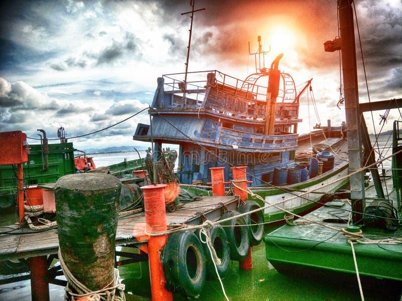码头在晚上 免版税库存照片