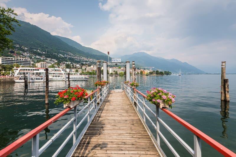 码头在洛枷诺,瑞士 免版税库存照片