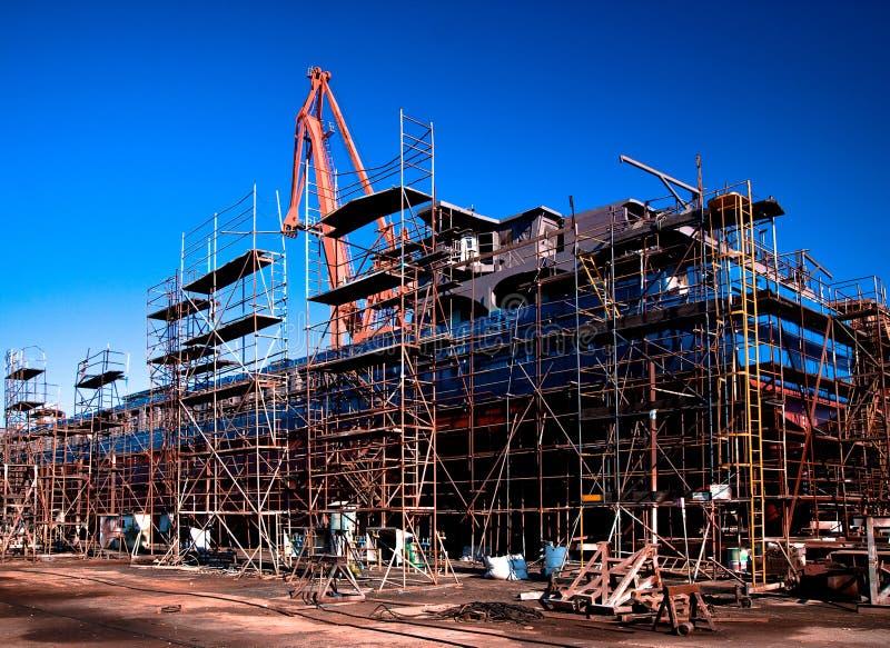 码头干燥船造船厂 免版税库存照片