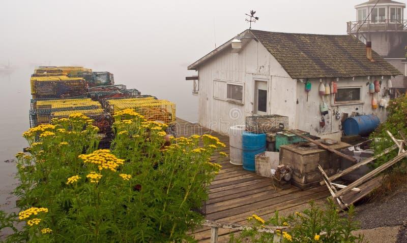 码头捕鱼缅因棚子 库存照片