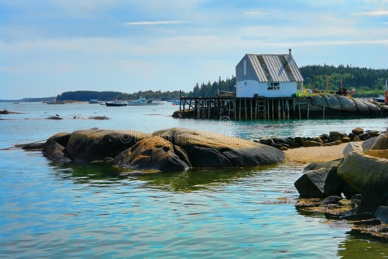 码头捕鱼缅因美丽如画端口风景 免版税库存照片