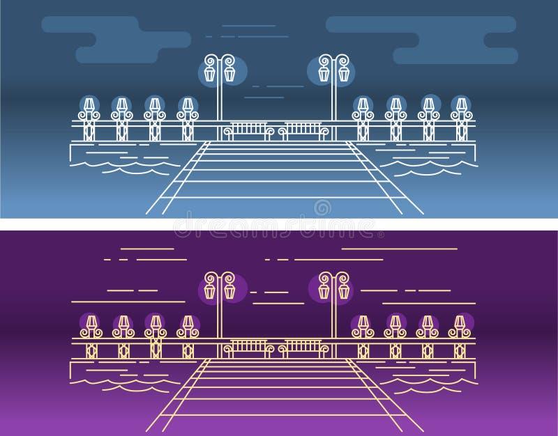 码头的传染媒介线性图片在水的,与点燃的元素 皇族释放例证