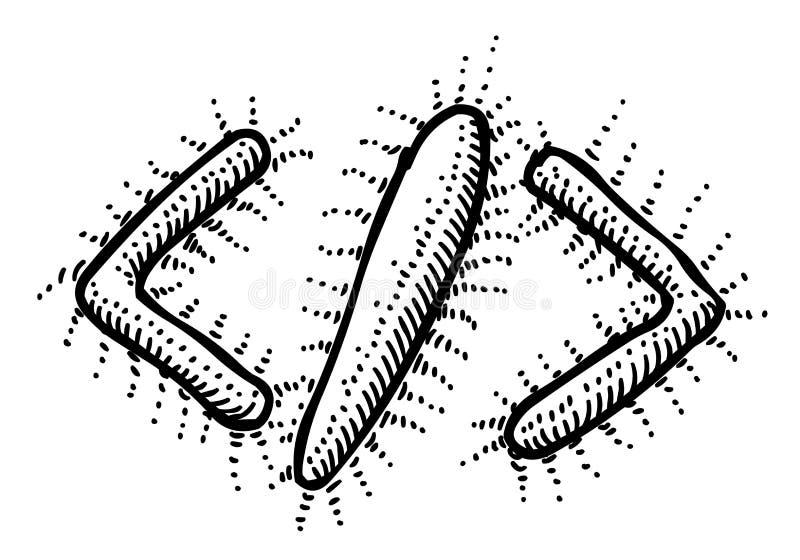 代码象的动画片图象 编码标志 皇族释放例证