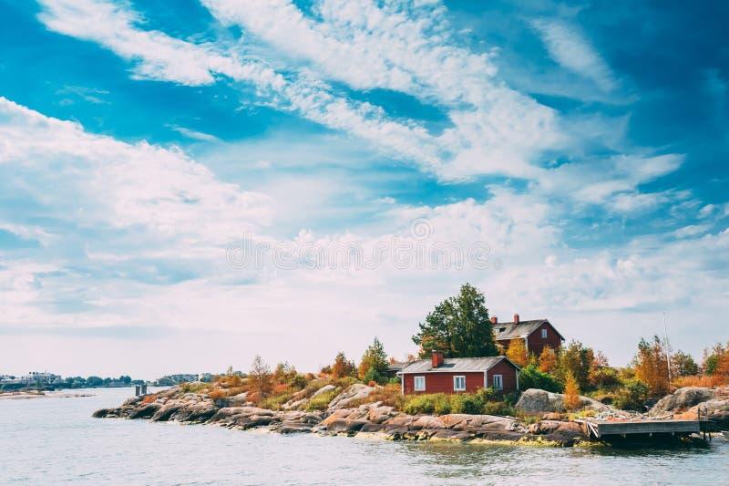 码头、港口和奎伊,在赫尔辛基附近的海岛 库存照片