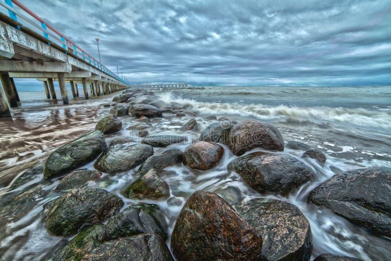 码头和波罗的海。风景。 免版税库存图片