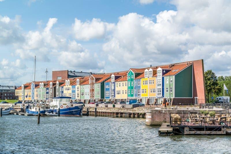 码头房子在赫勒富茨劳斯,荷兰 图库摄影