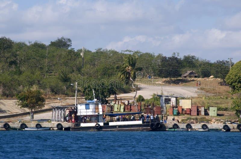 码头,西恩富戈斯海湾,古巴 免版税图库摄影