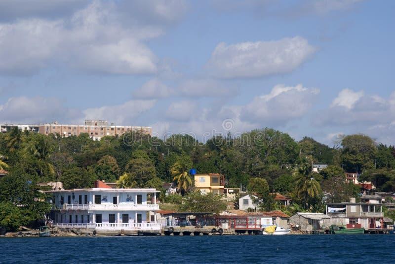 码头,西恩富戈斯海湾,古巴 库存照片
