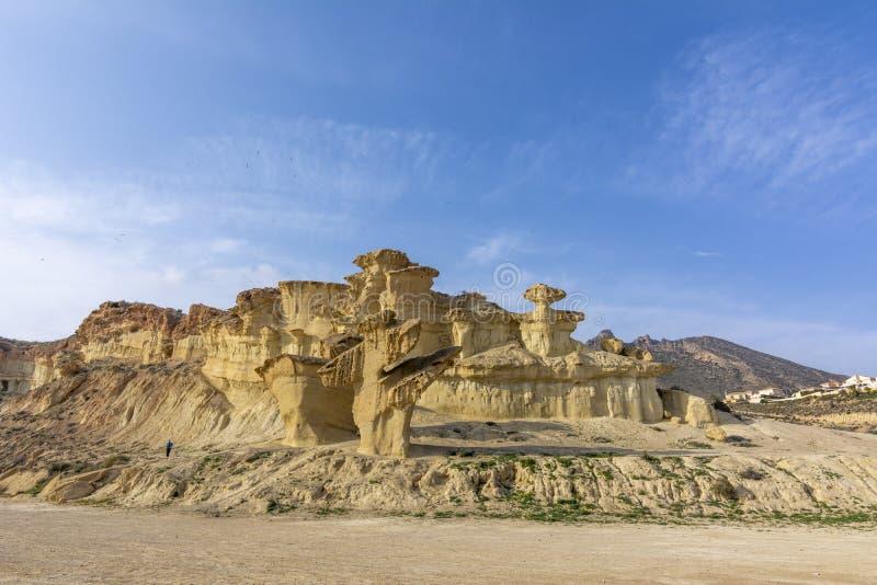 砂岩侵蚀在Bolnuevo的 免版税库存照片