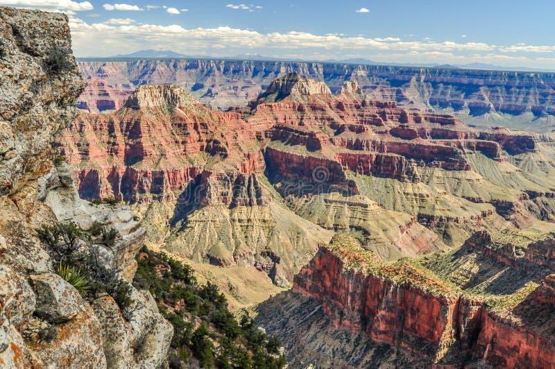 砂岩深堑侧壁在亚利桑那守卫大峡谷的深度 免版税库存图片