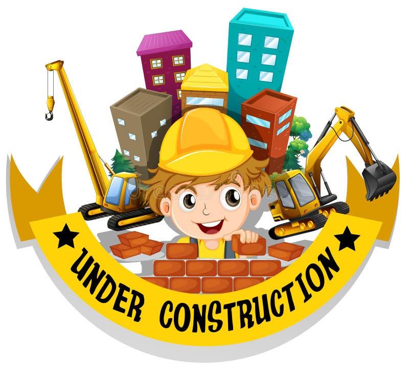砌砖工和标志建设中 库存例证