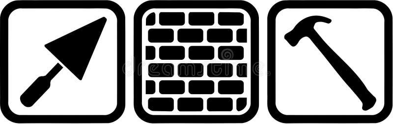 砌砖工用工具加工标志 皇族释放例证