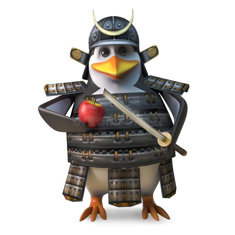砍他的与强大katana剑,3d的苹果的高尚的日本武士企鹅战士例证 向量例证