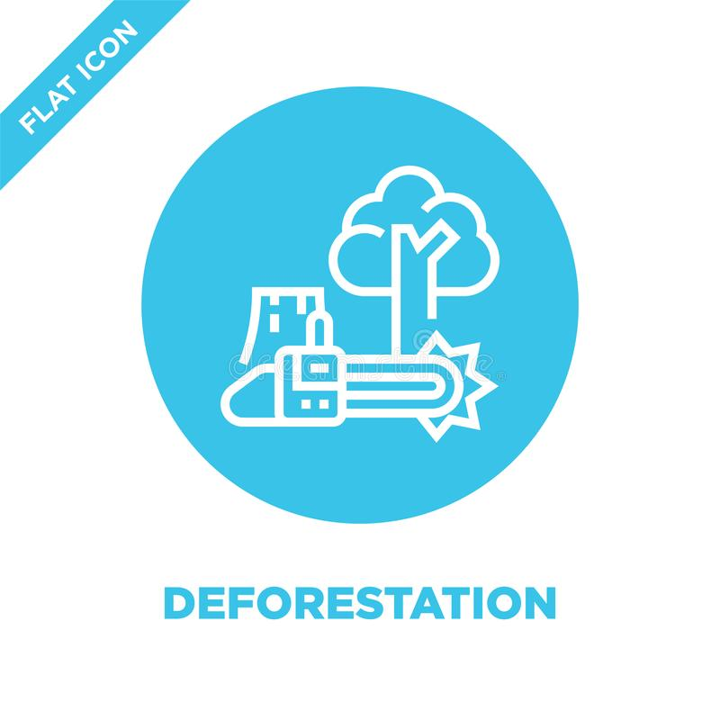 砍伐森林从全球性变暖汇集的象传染媒介 稀薄的线砍伐森林概述象传染媒介例证 线性标志 皇族释放例证