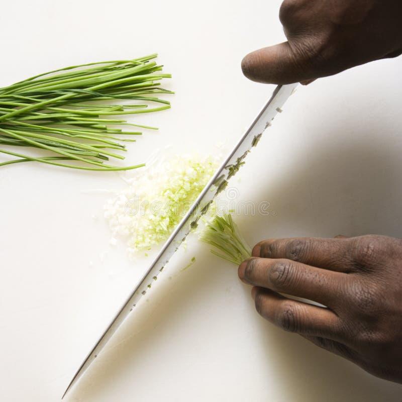 砍刀子的香葱 图库摄影