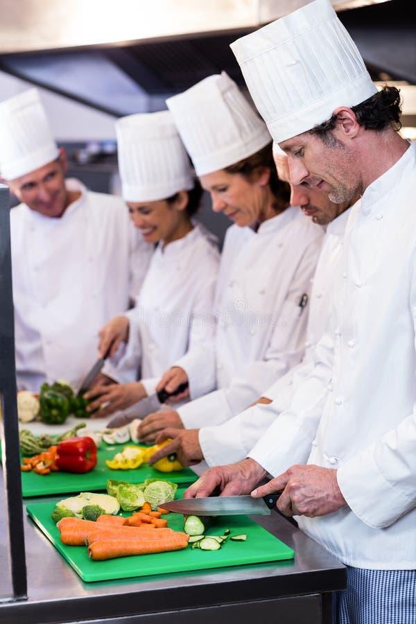 砍菜的厨师队  免版税库存照片