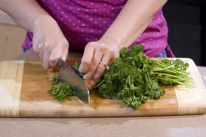 砍食物厨房妇女 库存图片