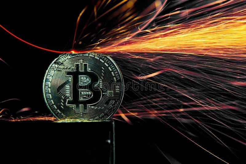 研在Bitcoin的电轮子 免版税库存照片