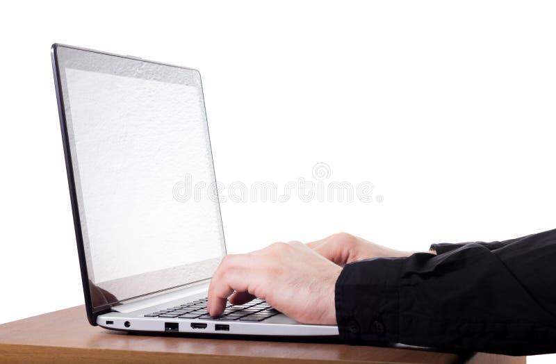 研究一台现代膝上型计算机 图库摄影