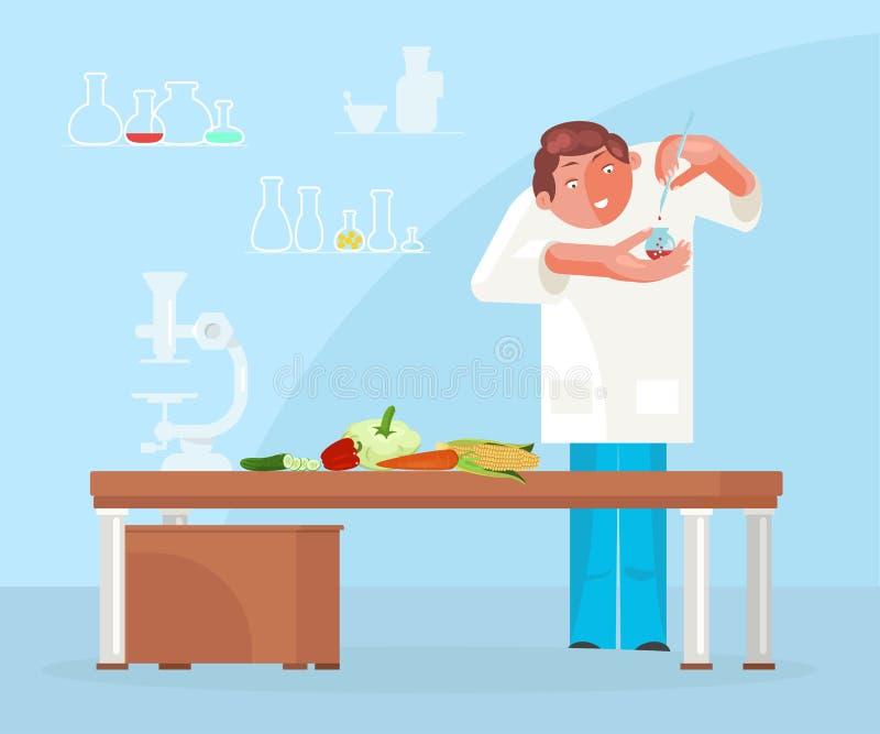 研究与营养师医生的饮食概念 向量例证