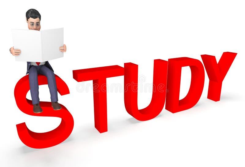 研究商人代表字符教育的和被学习的3d翻译 向量例证