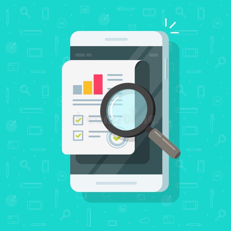 研究在手机传染媒介例证、平的动画片质量数据或者审计统计的报告结果对智能手机 库存例证