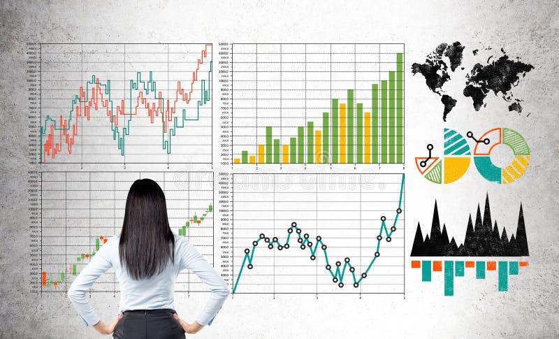 研究概念女实业家 免版税库存图片